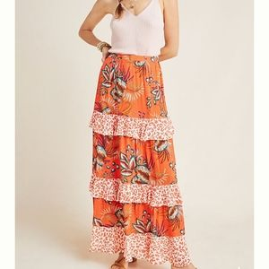 Anthropologie Farm Rio Amabelle Tiered Maxi Skirt